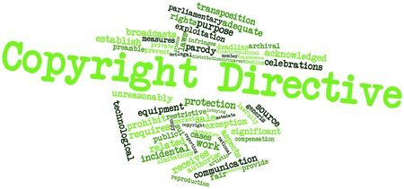 circumvent: Word cloud astratto per direttiva Copyright con tag correlati e termini
