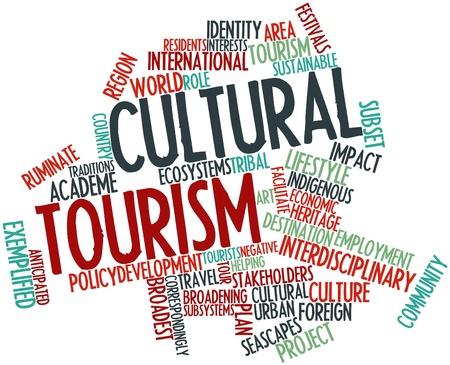 identidad cultural: Nube palabra abstracta para el turismo cultural con etiquetas y términos relacionados