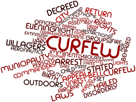 curfew: Abstract word cloud for Curfew with related tags and terms
