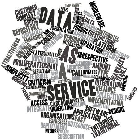 enabled: Abstract word cloud for Data as a service with related tags and terms Stock Photo