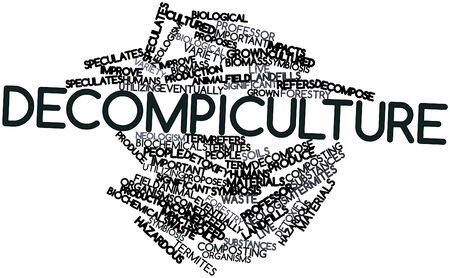 coined: Abstract word cloud for Decompiculture with related tags and terms