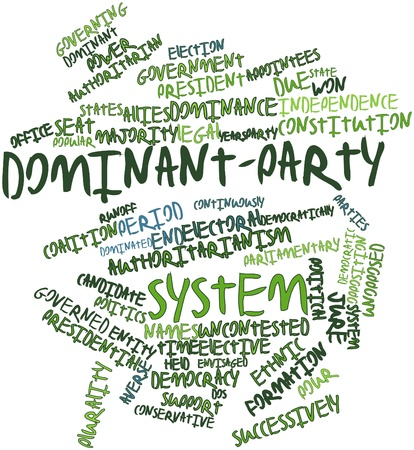 Abstract word cloud for Dominant-party system with related tags and terms Stock Photo - 16772813