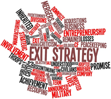 involves: Abstract word cloud for Exit strategy with related tags and terms