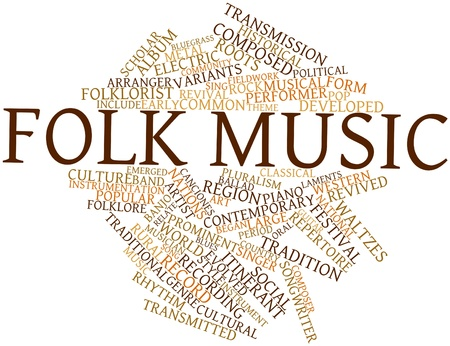 fieldwork: Abstract word cloud for Folk music with related tags and terms