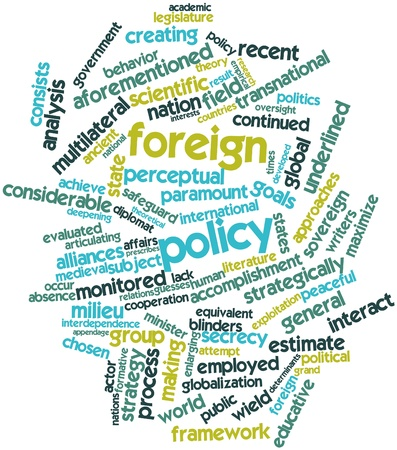 determinants: Abstract word cloud for Foreign policy with related tags and terms