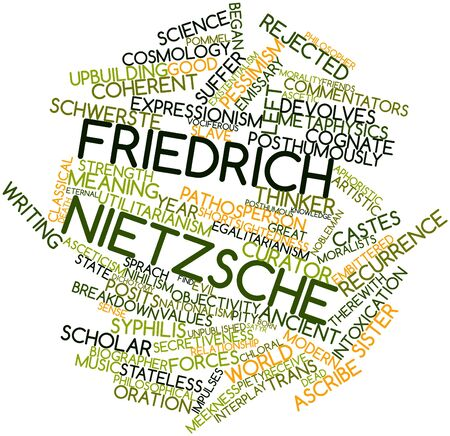 existentialism: Abstract word cloud for Friedrich Nietzsche with related tags and terms Stock Photo