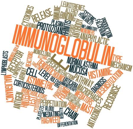 pokrzywka: Abstract cloud słowo immunoglobuliny E z pokrewnymi tagów oraz warunków Zdjęcie Seryjne