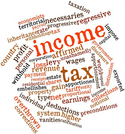 taxpayers: Abstract word cloud for Income tax with related tags and terms