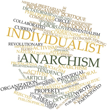 radical love: Abstract word cloud for Individualist anarchism with related tags and terms Stock Photo