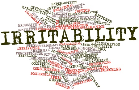 Abstract word cloud for Irritability with related tags and terms