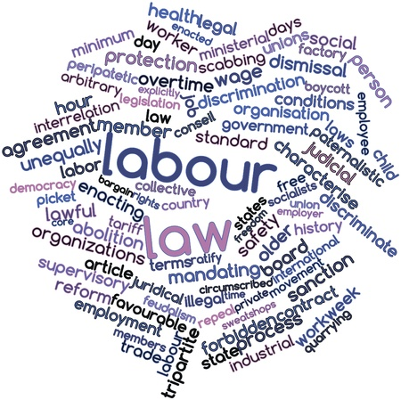 Abstract word cloud for Labour law with related tags and terms photo