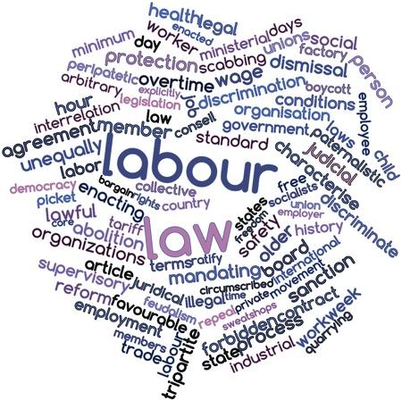 arbitrario: Nube de la palabra abstracta de Derecho del Trabajo con etiquetas y t�rminos relacionados Foto de archivo