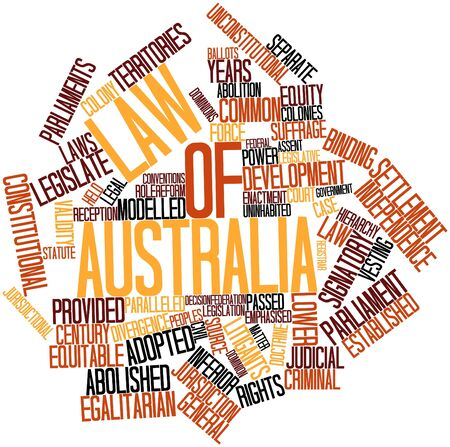 vesting: Abstract word cloud for Law of Australia with related tags and terms