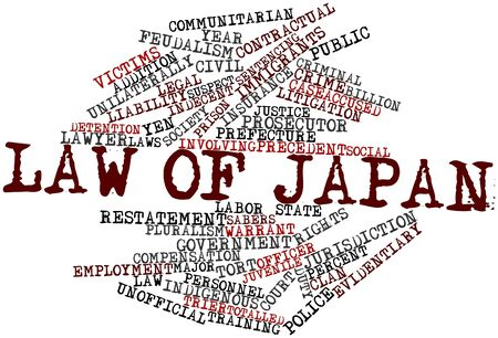 warrant: Abstract word cloud for Law of Japan with related tags and terms Stock Photo