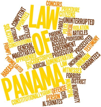 arbitrario: Nube palabra abstracta por la Ley de Panamá con las etiquetas y términos relacionados Foto de archivo