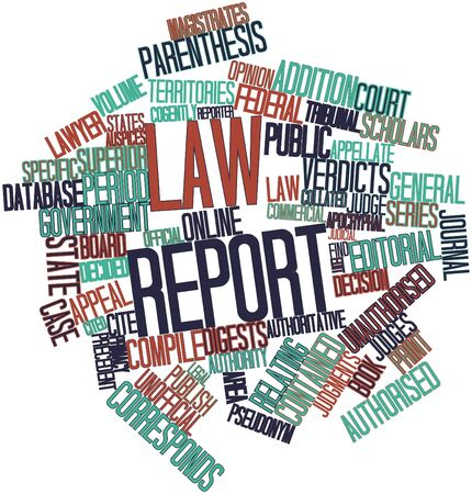 Abstract word cloud for Law report with related tags and terms Stock Photo - 16772846