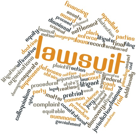 Abstract word cloud for Lawsuit with related tags and terms