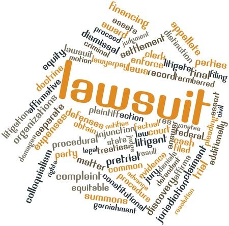 dagvaarding: Abstracte woord wolk voor rechtszaak met gerelateerde tags en termen