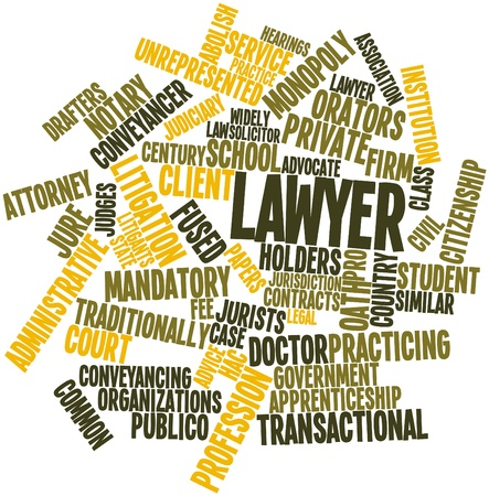 Abstract word cloud for Lawyer with related tags and terms Stock Photo - 16772789