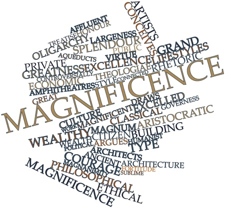 magnificence: Abstract word cloud for Magnificence with related tags and terms Stock Photo