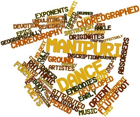retained: Nube palabra abstracta para la danza Manipuri con etiquetas y términos relacionados