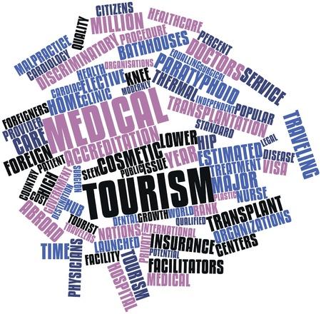 salud publica: Nube palabra abstracta para el turismo m�dico con etiquetas y t�rminos relacionados Foto de archivo