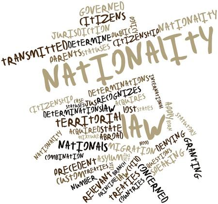 tratados: Nube palabra abstracta por ley Nacionalidad con etiquetas y t�rminos relacionados Foto de archivo