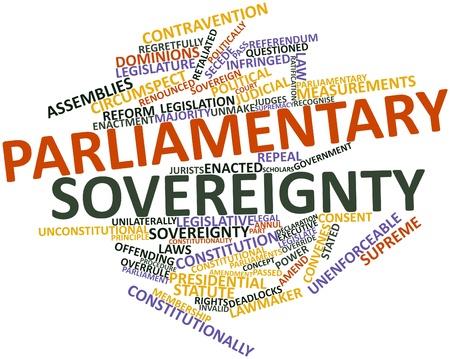 validez: Nube de la palabra abstracta de la soberanía parlamentaria con etiquetas y términos relacionados