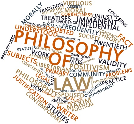 morally: Abstract word cloud for Philosophy of law with related tags and terms Stock Photo