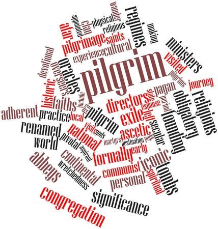 afar: Abstract word cloud for Pilgrim with related tags and terms Stock Photo