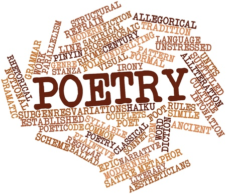 prose: Abstract word cloud for Poetry with related tags and terms Stock Photo