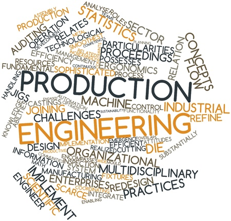 competences: Abstract word cloud for Production engineering with related tags and terms