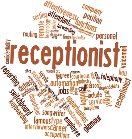 virtual assistant: Abstract word cloud for Receptionist with related tags and terms Stock Photo