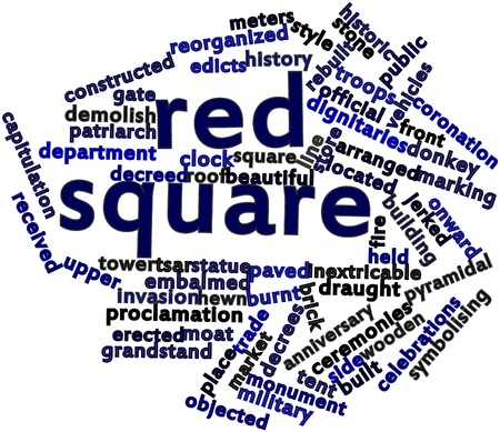 announced: Abstract word cloud for Red Square with related tags and terms