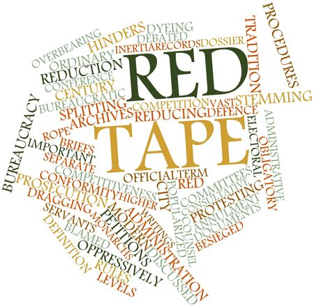 stemming: Abstract word cloud for Red tape with related tags and terms
