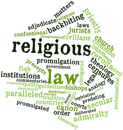 promulgated: Abstract word cloud for Religious law with related tags and terms Stock Photo
