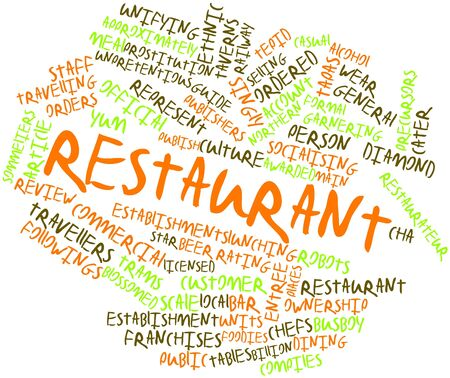 unpretentious: Abstract word cloud for Restaurant with related tags and terms Stock Photo