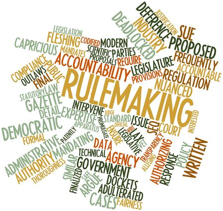 Abstract word cloud for Rulemaking with related tags and terms Stock Photo - 16772822