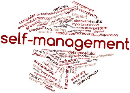 self discovery: Abstract word cloud for Self-management with related tags and terms