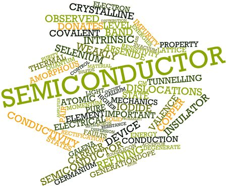 neighboring: Abstract word cloud for Semiconductor with related tags and terms Stock Photo