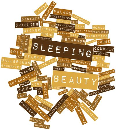 saintly: Abstract word cloud for Sleeping Beauty with related tags and terms