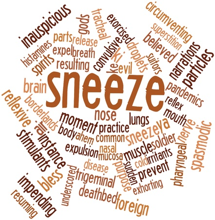 exhalation: Abstract word cloud for Sneeze with related tags and terms
