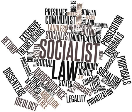 offenses: Abstract word cloud for Socialist law with related tags and terms Stock Photo