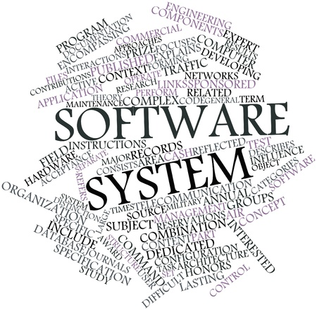 time specification: Abstract word cloud for Software system with related tags and terms Stock Photo