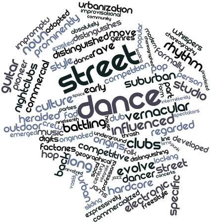 abstract dance: Abstract word cloud for Street dance with related tags and terms Stock Photo