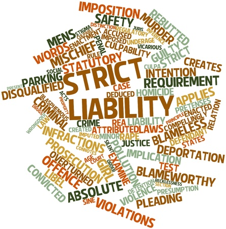 infractions: Abstract word cloud for Strict liability with related tags and terms