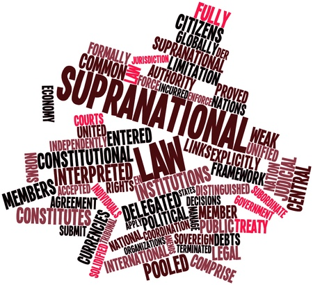 pooled: Abstract word cloud for Supranational law with related tags and terms