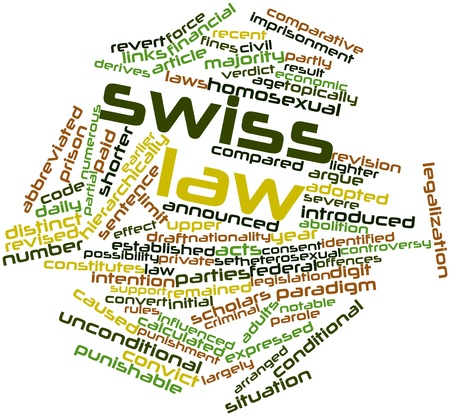 influenced: Abstract word cloud for Swiss law with related tags and terms