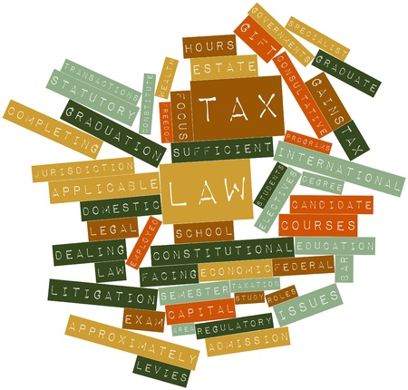 approximately: Abstract word cloud for Tax law with related tags and terms Stock Photo