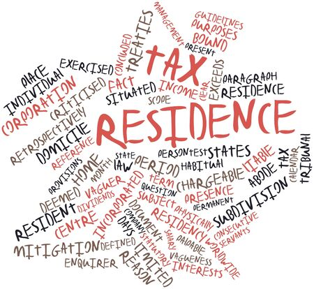 tratados: Nube palabra abstracta para residencia fiscal con las etiquetas y t�rminos relacionados